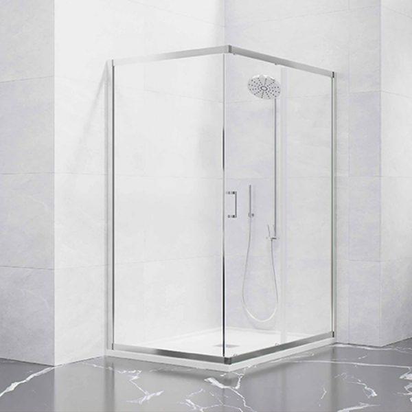 Frontal ducha 1 hoja corredera + 1 hoja fija con lateral fijo
