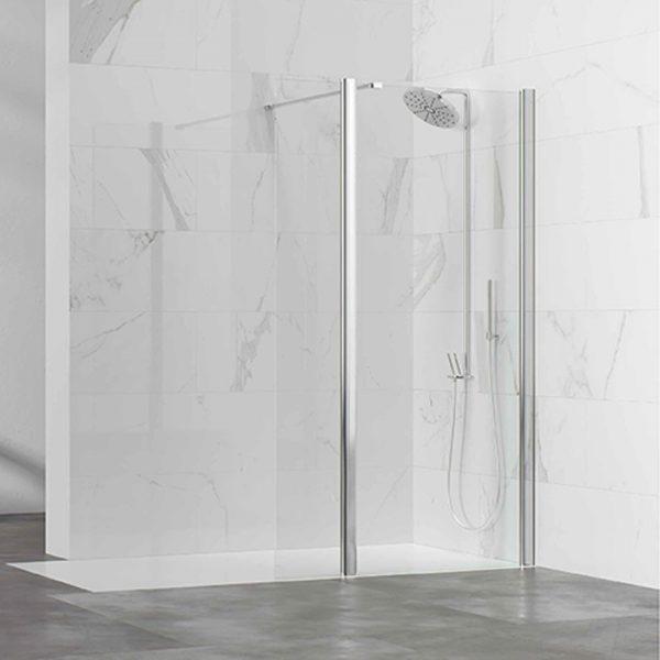 Lateral ducha fijo con vidrio articulado para formar box