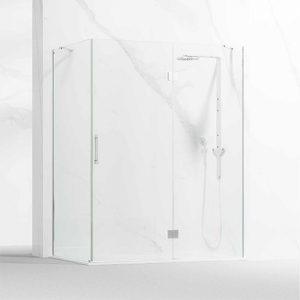 Frontal ducha- bañera formado por 1 hoja abatible con fijo frontal y otro lateral