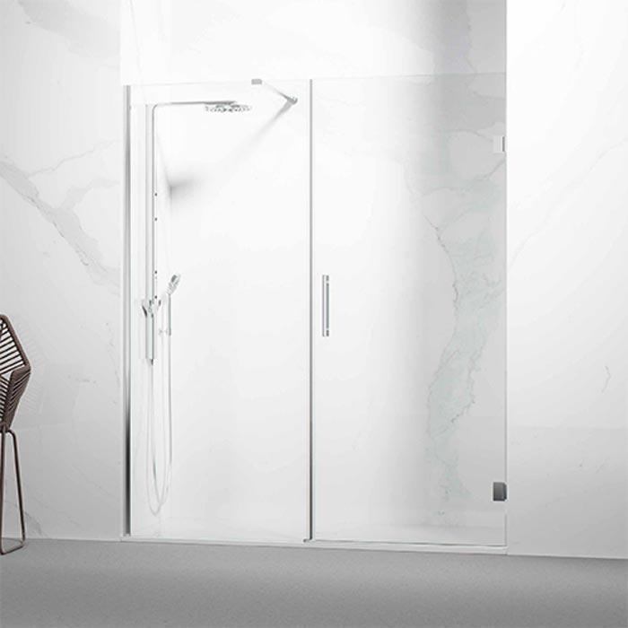 Frontal ducha / bañera formado por 1 hoja abatibles + fijo frontal