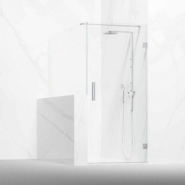 Frontal ducha compuesta por 1 hoja abatible y lateral fijo a murete