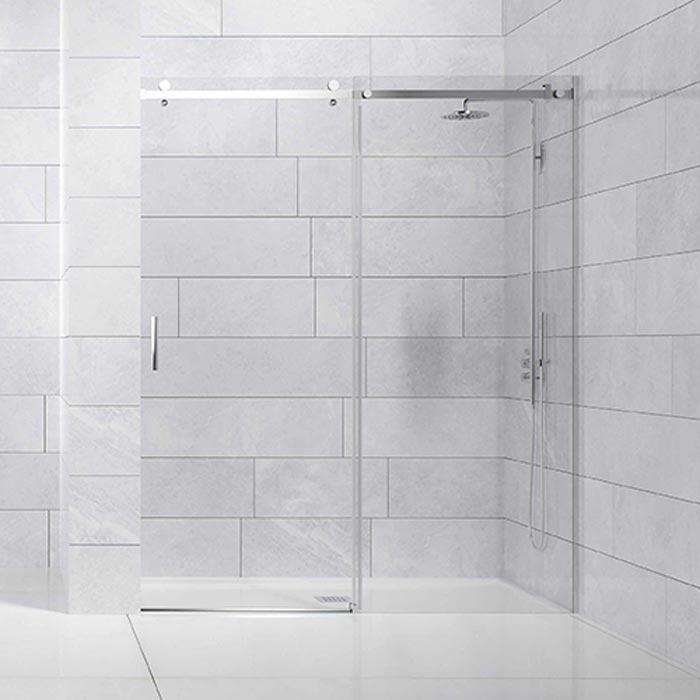 Frontal ducha 1 hoja corredera + 1 hoja fija con rodamientos suspendidos